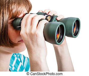 girl watching through field glasses isolated
