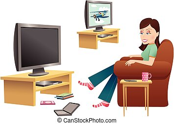 Girl watching TV in chair.eps