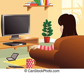 Girl watching tv in living room.eps