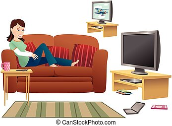 Girl watching TV on sofa.eps