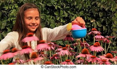 Girl Water Flowers
