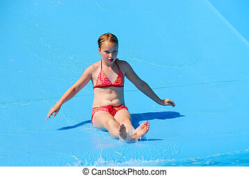 Girl water slide