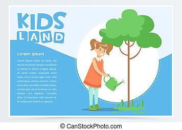 Girl watering a tree with a watering can, eco concept, organic gardening, kids land banner flat vector element for website or mobile app
