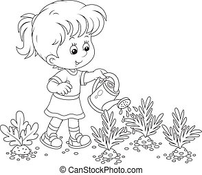 vegetable garden clipart black and white. girl watering carrots vegetable garden clipart black and white c