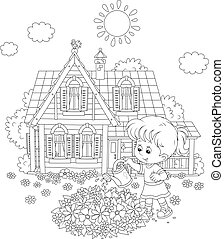 Black and white vector illustration of a little girl flushing flowers on a flowerbed in front of her house