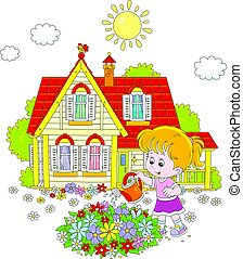 Girl watering flowers - Vector illustration of a little girl...
