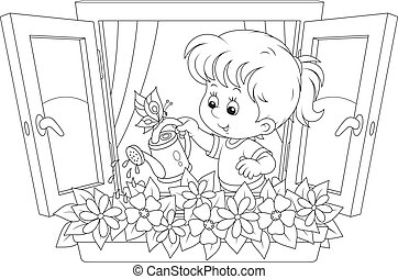 Girl watering flowers - Little girl watering flowers on a...