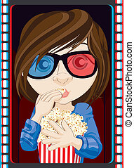 Girl Wearing 3D Glasses And Eating Popcorn