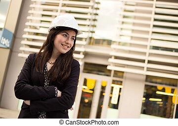 girl wearing a hard hat