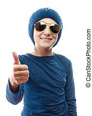 Girl wearing a knit cap
