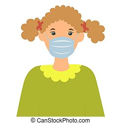 girl wearing a medical mask to protect her from the virus