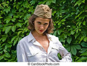 Girl wearing a soviet soldier cap