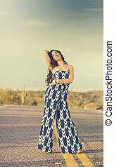 Girl wearing a summer dress shot in