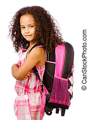 Mixed race African American girl wearing backpack for school against white background