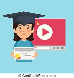 girl wearing cap graduation and diploma certificate vector...