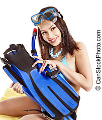 Girl wearing diving gear. Isolated.