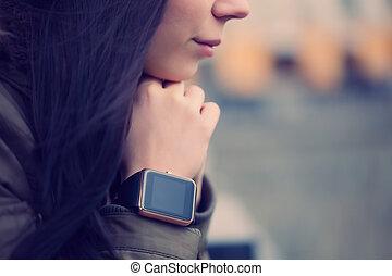 Girl wearing smart watch