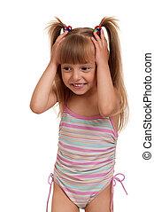 Girl wearing swimsuit - Little beautiful girl wearing pink...