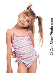 Little beautiful girl wearing pink swimsuit isolated on white background