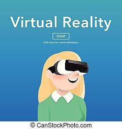 Girl wearing virtual reality glasses.