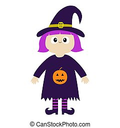 Girl wearing Witch costume curl hat. Orange pumpkin. Happy Halloween. Cartoon funny spooky baby magic character. Cute head face. Greeting card. Flat design. White background. Isolated.