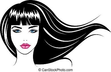 girl., wektor, ilustracja, twarz