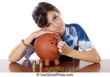 girl whit money box
