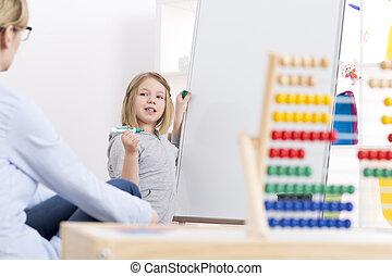 girl, whiteboard, écriture