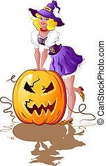 girl, whith, halloween, citrouille