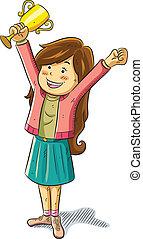 Girl Win a Trophy - cartoon illustration of cute pretty girl...