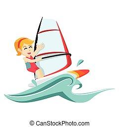 girl wind surfer