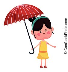girl wink with red umbrella