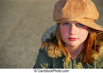 Girl winter clothes - Portriat of a girl in winter or fall...