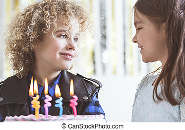 Girl wishing happy birthday