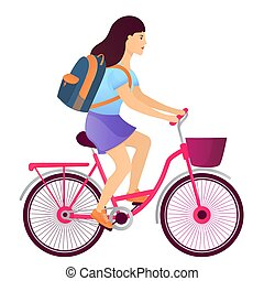 Girl with a backpack riding a bike. Back to school concept