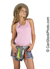 Girl with a bait - Isolated shot girl in a pink shirt with a...