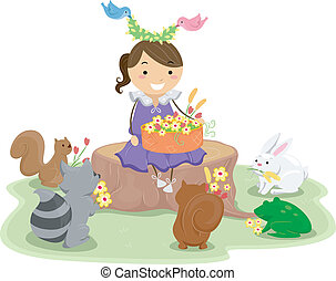 Girl with a Basket of Flowers surrounded by Cute Animals