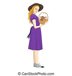 Girl with a basket of mushrooms isolated on a white background. Vector graphics.