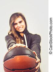 Girl with a basketball