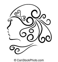 Girl with a beautiful festive hairdo, profile