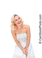 girl with a beautiful smile isolated on white background