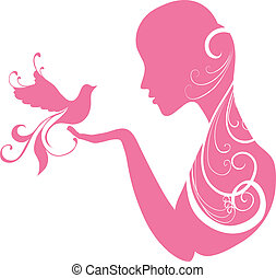 Girl with a bird - Silhouette of a young girl holding a bird