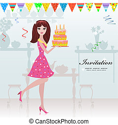 girl with a birthday cake for your design