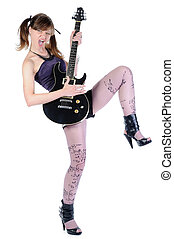girl with a black guitar in his hand.