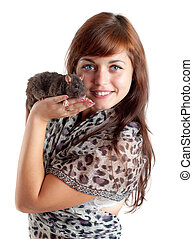 girl with a black rat