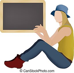 Girl with a blackboard in her hand