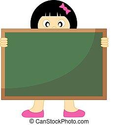 Girl with a blackboard.