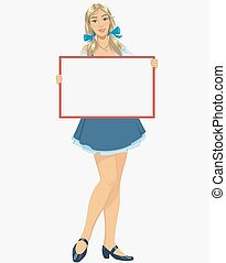 Girl with a blank poster