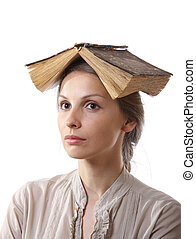 girl with a book on her head