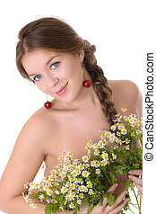 girl with a bouquet of daisies